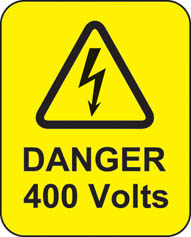 Danger 400 Volts Roll Of 100 Self Adhesive Labels 40x50mm
