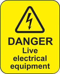 Danger Live Electrical Equipment (100 Stickers)