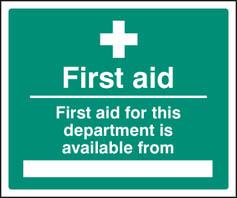 First aid for department available from sign