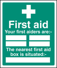 First aiders the nearest first aid box is situated Sign (6027)