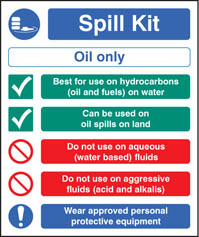 Spill kit oil type only sign