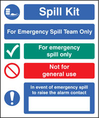 Spill kit emergency spill team only sign