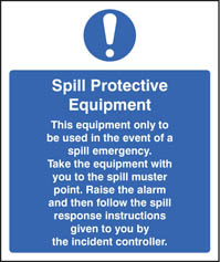 Spill protection equipment sign