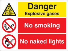 Explosive gasses no smoking naked lights sign