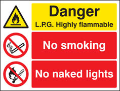 Danger LPG highly flammable no smoking no naked lights Sign (6207)