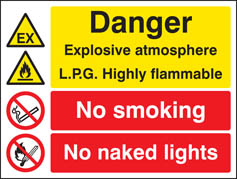 Explosive atmosphere LPG highly flammable sign