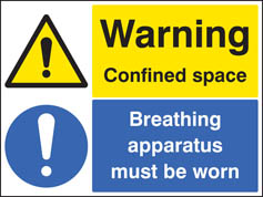 Warning confined space breathing apparatus must be worn Sign