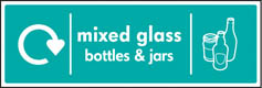 Mixed Glass Bottles & Jars Recycling Signs