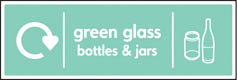 Green Glass Bottles & Jars Recycling Signs