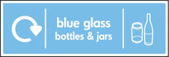 Blue Glass Bottles & Jars Recycling Signs