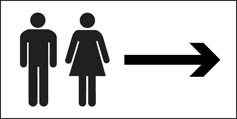 Unisex Toilet Signs (With Arrow)