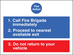 Fire Action For Car Parks Sign