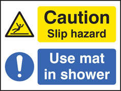 Use mat in shower sign
