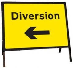 Diversion Left Temporary Road Sign 2702