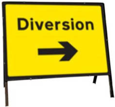 Diversion Right Temporary Road Sign 2702