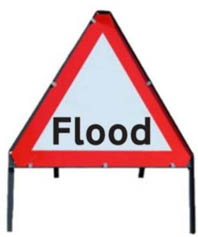 Flood Temporary Road Sign With Metal Frame