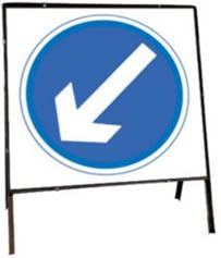 Keep Left Temporary Road Sign With Metal Frame 610