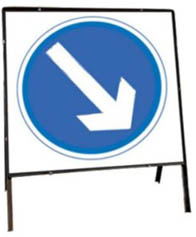 Keep Right Temporary Road Sign With Metal Frame 610
