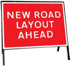 New Road Layout Ahead Temporary Road Sign