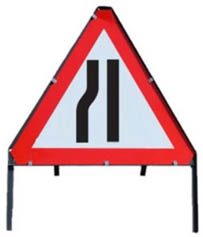 Road Narrows To Left Triangle Temporary Road Sign With Metal Frame 517