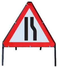 Road Narrows Right Temporary Road Sign Metal Frame 517