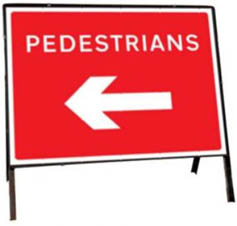Pedestrians Left Temporary Road Sign 7018