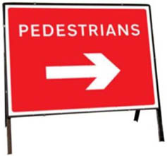 Pedestrians Right Temporary Road Sign 7018