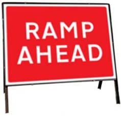 Ramp Ahead Temporary Road Sign