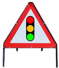 Traffic Lights Triangle Temporary Road Sign With Metal Frame 543