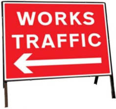 Works Traffic Left Temporary Road Sign