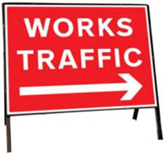 Works Traffic Right Temporary Road Sign